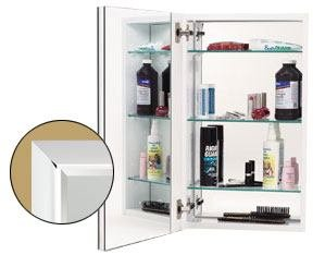 White Cabinet Body w/ Polished Chrome Frame Door and 170 Degree Hinge