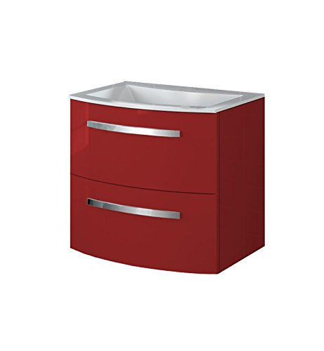 LaToscana PA22OPT1 Palio 22 inch Modern Bathroom Vanity with Chrome Handles, 2 Slow Close Drawers and Matching Painted Glass Sink Top With Finish: Glo by La Toscana