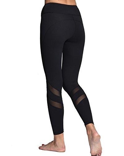 c75eb3d883239 Women Yoga Pants Leggings with Mesh Workout Gym Capri Black White Yoga Pants  with Hidden Pocket