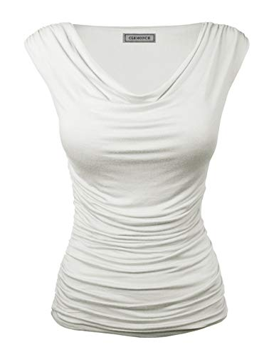 CLEMONCE Women's Cowl Neck Ruched Side Slim Fit Top Ivory L