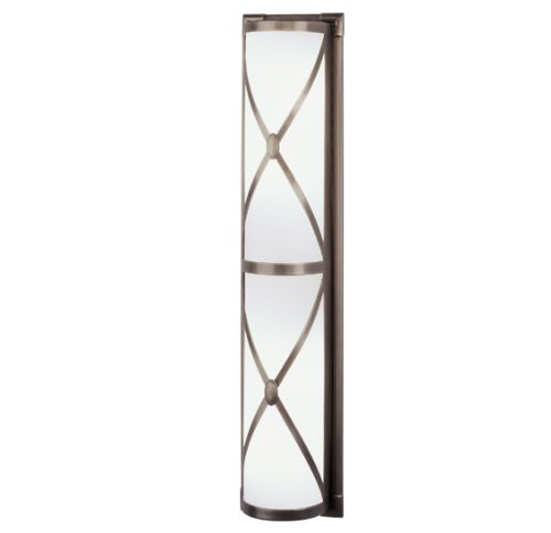Robert Abbey D1987 Sconces with Frosted White Cased Glass Shades, Dark Antique Nickel - Sconce Robert Abbey Bathroom