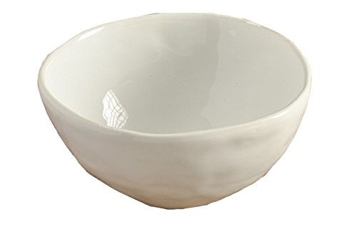 Thompson & Elm Semplice Collection Glazed Ceramic Bowl, 5-Inches in Diameter, White and Pink GP63157136WH