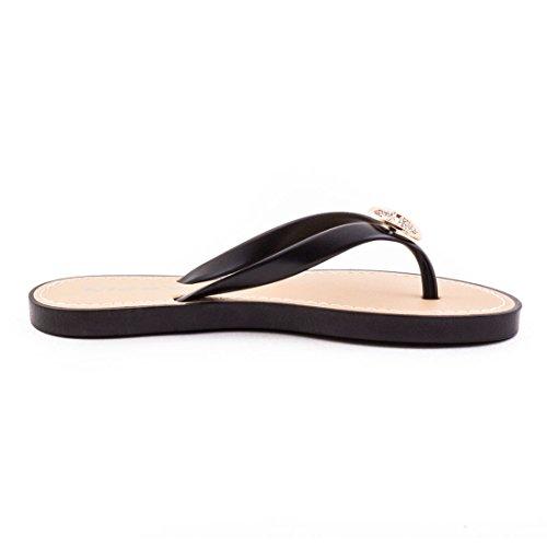 Marimo Trendige Damen Sandalen Slipper Zehentrenner Bade Schuhe mit Strass in Verschiedenen Farben Schwarz
