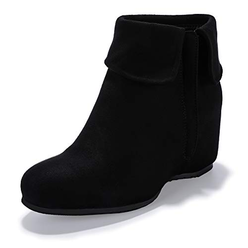 - IDIFU Women's Candice-V Fold Over Round Toe Ankle Booties Hidden Medium Wedge Heel Side Zipper Faux Suede Short Boots (Black Suede, 8 M US)