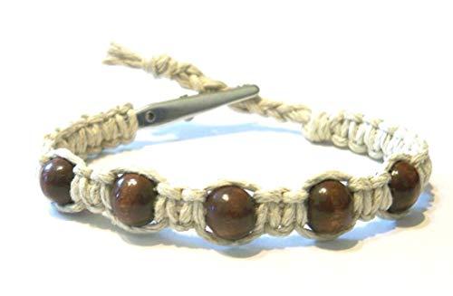 Hempnotic Jewelry Brown Wood Beaded Adjustable Alligator Clip Hemp Bracelet - Handmade