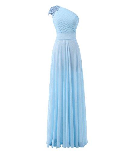 Blevla Une Épaule Robes De Bal En Mousseline De Soie Longues Robes De Demoiselle D'honneur Perles Du Soir Bleu