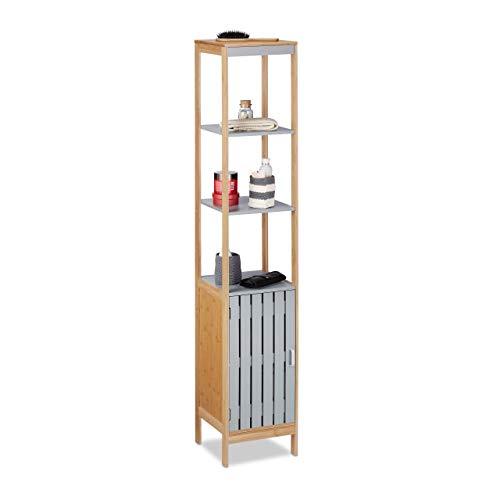 Relaxdays Badschrank hoch, höhenverstellbare Schrank Einlage, 4 Regalfächer, Bambus, MDF, HBT 159x30x30 cm, Natur-grau, 159 x 30 x 30 cm
