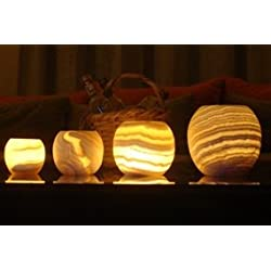 Single Alabaster Candle Holder - Egyptian Tealight and votive candles holders with Amber Glow for Home Décor – Natural stone Soothing Tranquil Aurora- by CraftsofEgypt