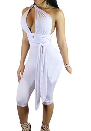 Love Needs Women White Sleeveless Variety Strap Wrap Cropped Short Jumpsuit L by Love Needs (Image #2)