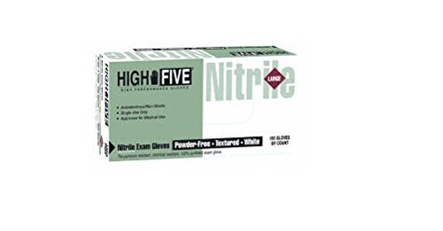 High Five N801-10 Nitrile Glove, Exam, Powder-Free, 6 mil Thickness, 9-1/2 Length, Small, White (Case of 1000) by Lakeside B001Q8ZSD4