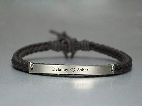 caaa67a30 Amazon.com: Personalized Couple Name Bracelet, Initial Heart Engraved, Thin  Brown Wax Cord Braided, For Promise Propose Engagement Anniversary Birthday  ...