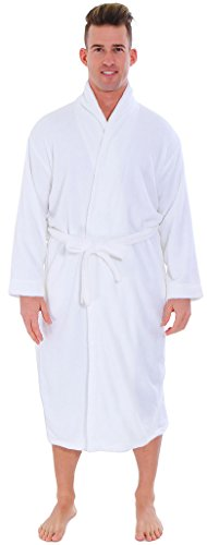 Buy mens waffle dressing gown white - 2