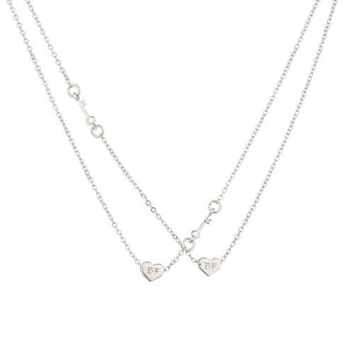 Lux Accessories Silvertone Best Friends Bff Heart Necklace Set