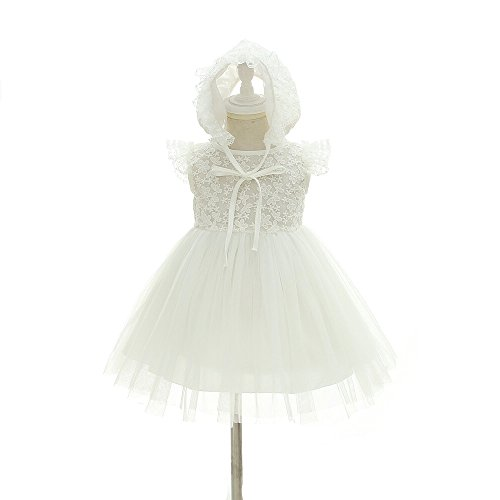 Christening Tulle Dress Satin (Baby Girls Floral Embroidered Satin Tulle Christening Dress With Hat (12M/12-15Month))