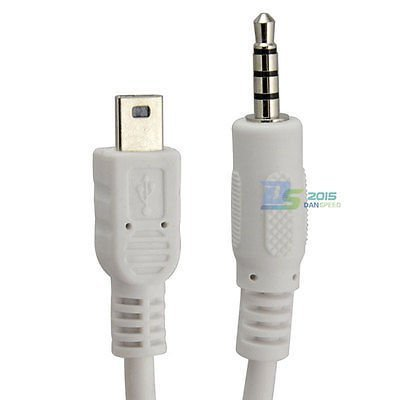 SuperWhole 50cm 3.5mm Stereo Plug to Mini USB 5Pin Male M/M Adapter Convertor Audio Cable (Usb Stereo Cable)