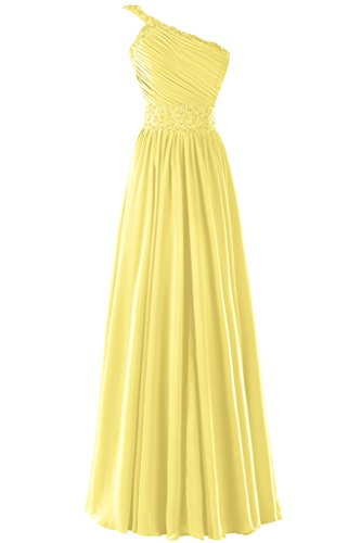 Dresstore Women's One Shoulder Chiffon Bridesmaid Dress Long Prom Evening Dress Yellow US 14