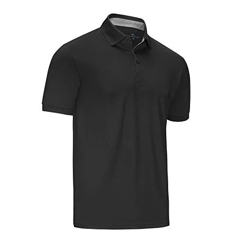(Mio Marino Golf Polo Shirts for Men - Regular-fit Quick-Dry Mens Athletic Shirts (Black, Small))