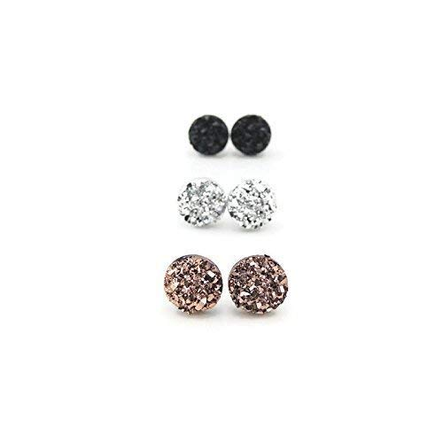 - Faux Druzy Earrings Hypoallergenic Metal-Free Plastic Posts, Silver, Black, Rose Gold-Tone, 8mm