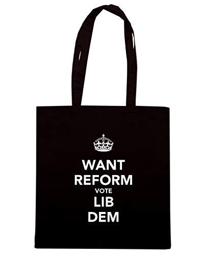 WANT Shopper DEM Nera VOTE LIB TKC1627 Shirt Borsa REFORM Speed qXxTUvw
