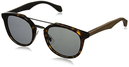 BOSS by Hugo Boss Men's B0777s Square Sunglasses, Havana Brown/Gray, 51 ()