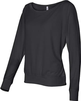 Bella 8850 Womens Flowy Long Sleeve Off Shoulder Tee - Black, Extra Small