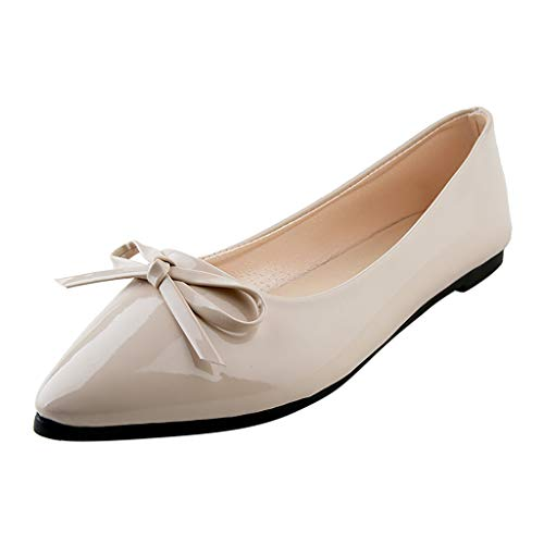 LYN Star✨ Women's Tali Bow Ballet Flat Comfortable Bow Point Toe Flat Pumps Slip On Shoes Classic Mugara Ballet-Flat Beige