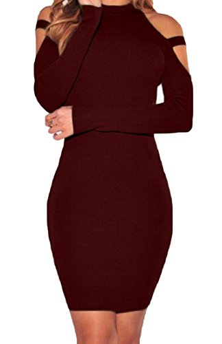 Cut Dresses Shoulder Long Women Club Sexy Wine Comfy Red Out Halter Sleeved p6agEqf