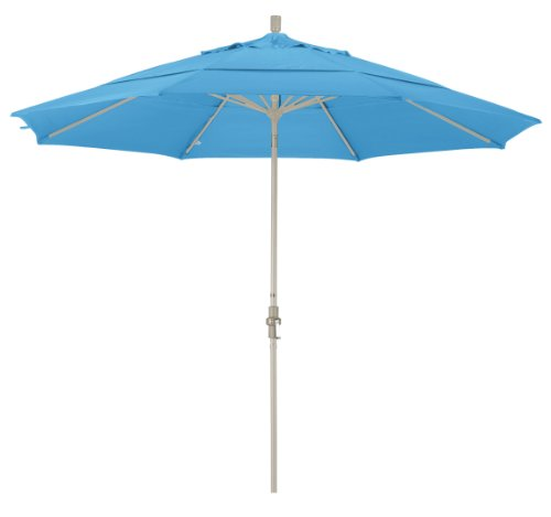 Cheap California Umbrella 11′ Round Aluminum Market Umbrella, Crank Lift, Collar Tilt, Sand Pole, Forest Bleu Olefin