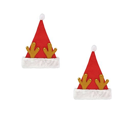 Santa Hat With Antlers (Festive Holiday Santa Hat with Reindeer Antlers and Jingle Bells)