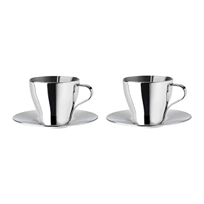 Ikea Home Kitchen Beverage Tea Coffee Mug Espresso Cup And Saucer, Stainless Steel Pack Of 2