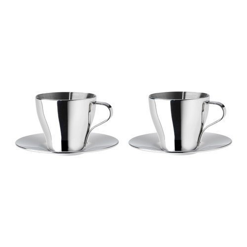- Ikea Espresso Tea Coffee Cup Stainless Steel With Saucer (2 Pack)