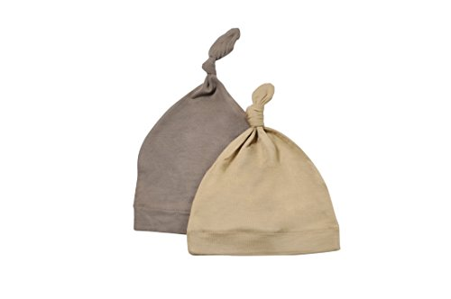 KYTE BABY Organic Bamboo Baby Beanie Hats - Super Soft Knotted Caps Available in Pattern and Solid Colors - 2 Pack (Newborn, Clay/Sand) (Beanie Hat Knotted)