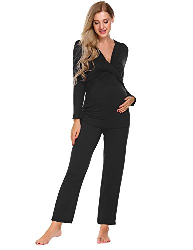 Aimado Plus Size Maternity Clothes Nursing Pajama Sets Breastfeeding Tops (Black, Small)