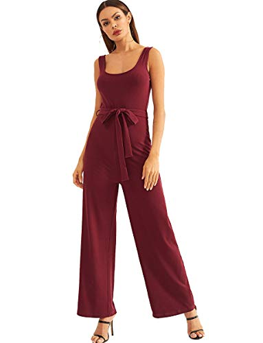 (Romwe Women's High Waist Belted Sleeveless Rib Knit Wide Leg Long Tank Jumpsuit Burgundy L)