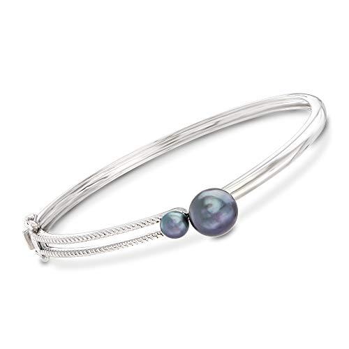 (Ross-Simons Black Cultured Pearl Bangle Bracelet in Sterling Silver)