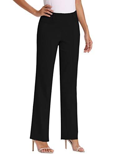 Vocni Women's Bootcut Stretch Elastic Waist Slim Fit Comfortable Pull on Dress Pants Full Ankle Length Trousers Black Medium