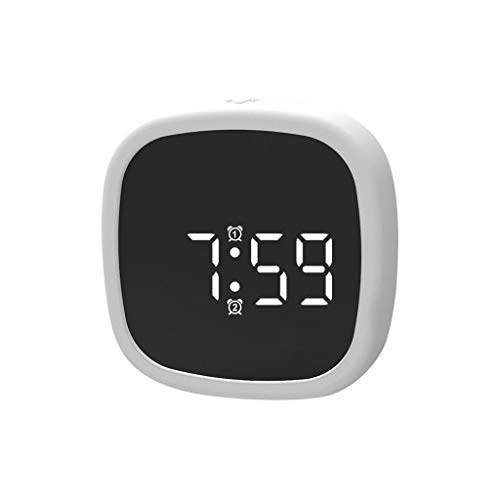 ❤Lemoning❤ Digital Alarm Clock LED Display Pocket Silicone Voice-Activated Clock Desk Clock (White)
