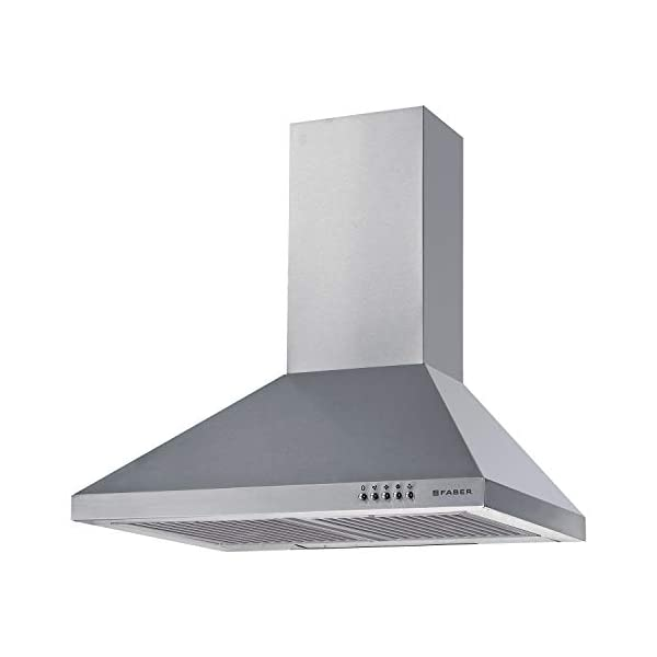 Faber 60 cm 800 m³/HR Pyramid Kitchen Chimney (HOOD CONICO PLUS BF SS 60, 2 Baffle Filters, Silver)