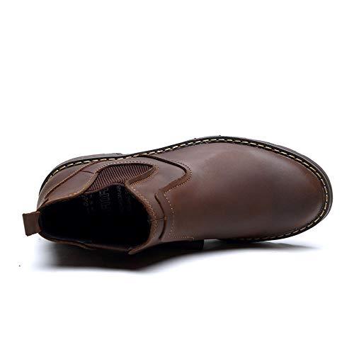 uomo alla con del regalo padre caviglia fidan di cerniera il Chelsea pelle da 26 stivali Marrone marito chukka casual Per con 5cm 24cm mano del Stivali a vera fatti in Natale 57BqXX
