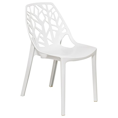 LeisureMod Cornelia Cut-Out Tree Design Modern Dining Chairs in Solid White