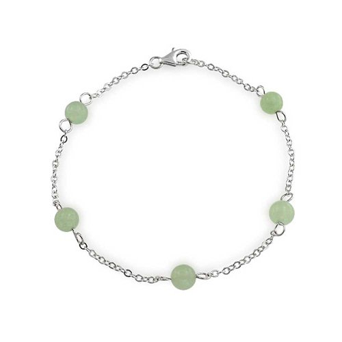 - 925 Sterling Silver Gemstone Tin Cup Dyed Green Jade Bracelet 8in