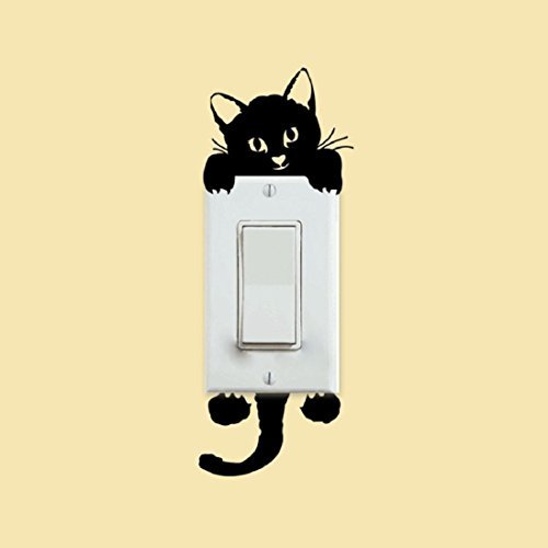 Decalgeek Cat Wall Stickers Light Switch Decor Decals Art Mural Baby Nursery Room