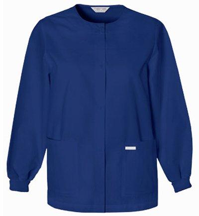 Women's Jewel Neck Two Pocket Warm-UP Scrub Jacket by Cherokee - Warm Neck Jacket Jewel Up