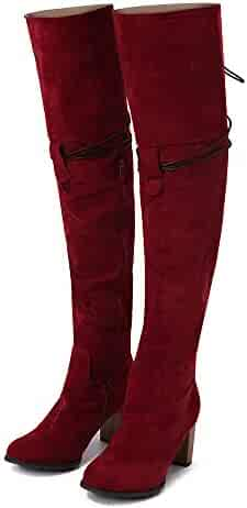 9344fffb0e0 Memela Women s Boots New Black Over The Knee High Heel Boots Fashion  Cross-Tied Shoes