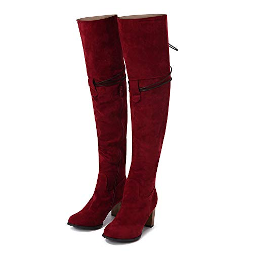 Womens Lady Hunter 8' - Memela Women's Boots New Black Over The Knee High Heel Boots Fashion Cross-Tied Shoes Riding Boot (Red, 8 M US)