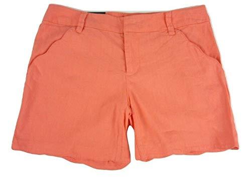 INC International Concepts Linen-Blend Scalloped Shorts (Rose Coral, 16)