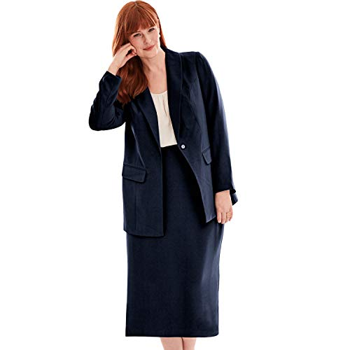 (Jessica London Women's Plus Size Single-Breasted Skirt Suit - Navy,)