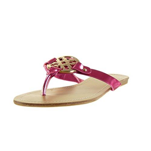 Angkorly - Scarpe da Moda sandali donna fibbia d'oro Tacco a blocco 1 CM - Fushia