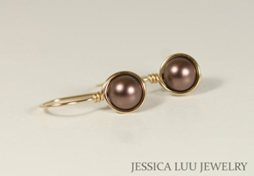 Gold Brown Pearl Earrings Velvet Brown Swarovski Pearl Drop Earrings Yellow or Rose Gold Necklace and Earrings Set ()