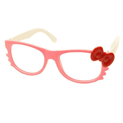 FancyG® Cute Nerd Glass Frame with Bow Tie Cat Eyes Whiskers Eyewear for Kids 3-12 NO LENS - Pink White with Red - Kitty Hello Fashion Glasses